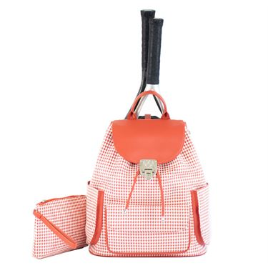 Court Couture Hampton Houndstooth Sunset Tennis Backpack - Orange/White