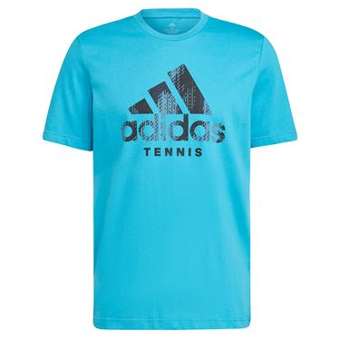 adidas Tennis Graphic Logo Tee Shirt Mens Sonic Aqua HB2745