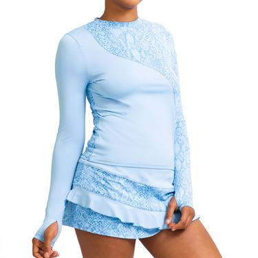 Eleven In The Curves Sun Bliss Long Sleeve Top Womens Cloud Blue LS134 413