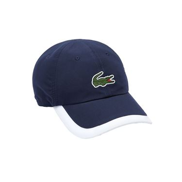 Lacoste SPORT Contrast Border Lightweight Hat - Navy Blue/White