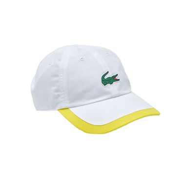Lacoste SPORT Contrast Border Lightweight Hat - White/Yellow