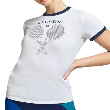 Eleven Legacy Ringer Tennis Tee Shirt Womens Vintage White SS262 104