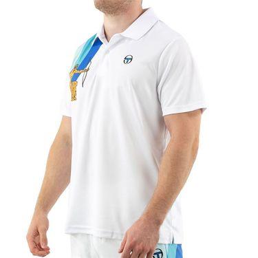 Sergio Tacchini Arezzo Polo Mens White/Blue Print STF21M60005 103