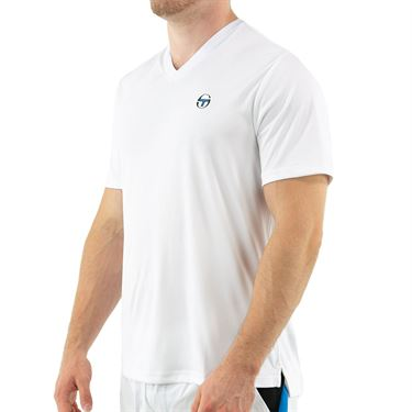 Sergio Tacchini Court V Neck Tee Mens Brilliant White STF21M60032 050