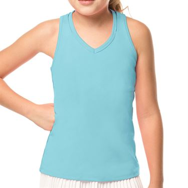 Lucky in Love Mad About Plaid Girls V Neck Cutout Tank Ocean Blue T207 410