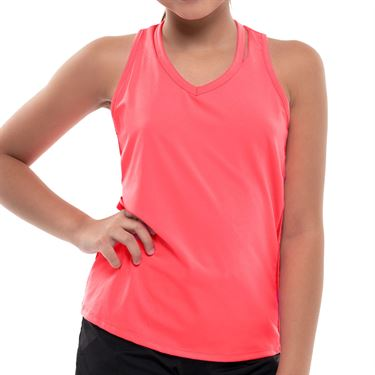 Lucky in Love Girls Core V Neck Cutout Tank Coral Crush T207 647
