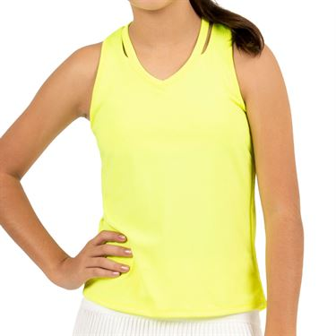 Lucky in Love Girls Core V Neck Cutout Tank Neon Yellow T207 710