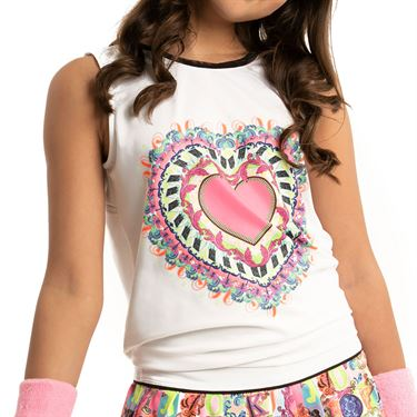 Lucky in Love Rockin Rococo Girls Rockin Tie Back Tank White T211 D18110
