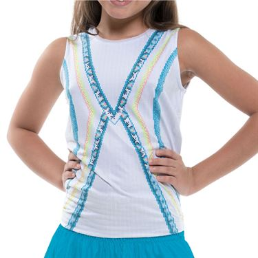 Lucky in Love Square Are You Girls Square Tie Back Tank White/Turquoise T211 E85409
