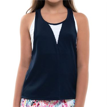Lucky in Love Techno Tropic Girls Play All Day Tank White/Midnight T225 122