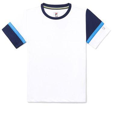 Fila Core Boys Performance Doubles Crew Shirt White/Navy/Marine TB018393 103