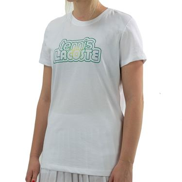 Lacoste Graphic Tee Shirt Womens White TF9496 001