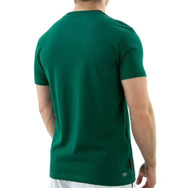 Lacoste SPORT French Open Edition Logo Print T-Shirt - Bottle Green/White