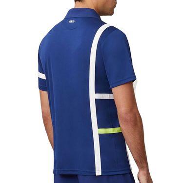 Fila PLR Singles Polo Shirt Mens Blueprint/White/Acid Lime TM016282 919