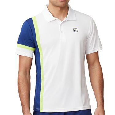 Fila PLR Polo Shirt Mens White/Blueprint/Acid Lime TM016283 100