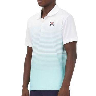 Fila Legends Ombre Stripe Polo Shirt Mens White/Stripe Fade/Beach Glass TM036835 100