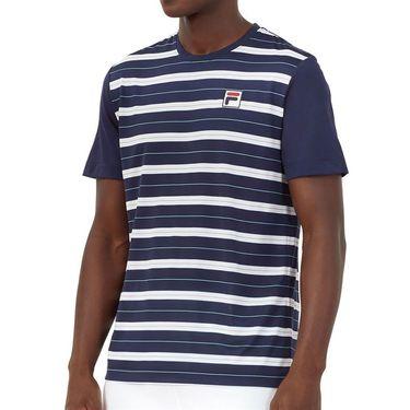 Fila Legends Yarn Dye Crew Shirt Mens Navy/White/Paradise TM036839 412