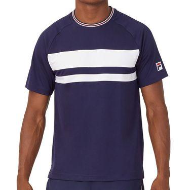 Fila Heritage Court Tennis Crew Shirt Mens Navy/White TM036844 412