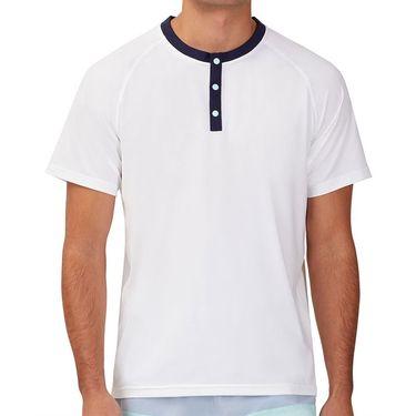Fila Cross Court Short Sleeve Henley Shirt Mens White/Navy/Blue Tint TM118266 100