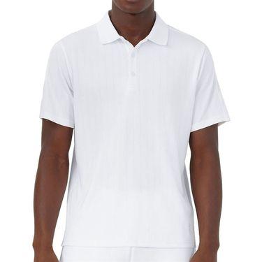 Fila White Line Pin Stripe Polo Shirt Mens White TM118753 100