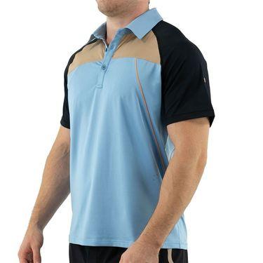 Fila Wild Card Contrast Polo Shirt Mens Dusk Blue/Black/Musk Melon TM13A917 437