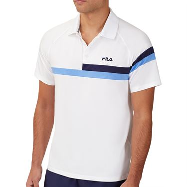 Fila 110 Year Polo Shirt Mens White/Navy/Marina TM13B177 100