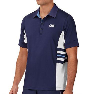 Fila 110 Year Signature Stripe Polo Shirt Mens Navy/White/Marina TM13B178 412