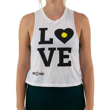 Tennis-Point Love Crop Tank Womens White TPCROP W