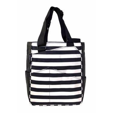 Maggie Mather Tennis Tote Bag - Black/White Stripes