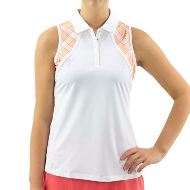 Fila Mad For Plaid Sleeveless Polo Top Womens White/Plaid/Melon TW015549 100