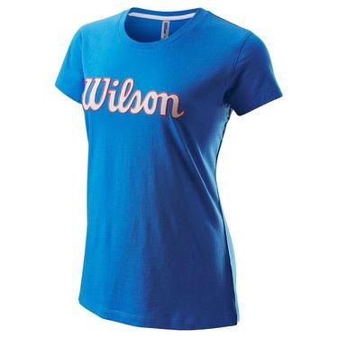 Wilson Script Cotton Tee IV Womens Prince Blue WRA787601