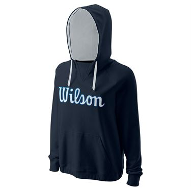 Wilson Script Cotton Pullover Hoody II Womens Outer Space WRA787702