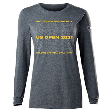 Wilson 2021 US Open Long Sleeve Womens Charcoal WRAX035