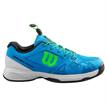 Wilson Rush Pro QL Junior Tennis Shoe - Brilliant Blue/White/Green Gecko