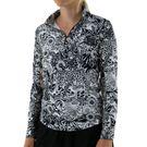 IBKUL Long Sleeve Zip Mock Top Womens Black/White 10749 BKW