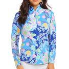Ibkul Gia Long Sleeve Mock Top Womens Blue Multi 10750 BLM