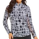 Ibkul Out Of The Box Long Sleeve Mock Top Womens Black/White 10753 BKW