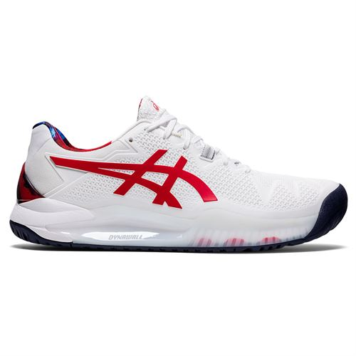 Asics Gel Resolution 8 LE Mens Tennis Shoe White/Classic Red 1041A292 110
