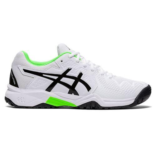 Asics Junior Gel Resolution 8 GS Tennis Shoe White/Green Gecko 1044A018 105