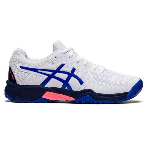 Asics Junior Gel Resolution 8 GS Tennis Shoe White/Lapis Lazuli Blue 1044A018 107