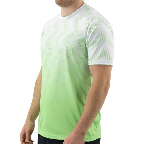 K Swiss Hypercourt Print Crew Shirt Mens White/Soft Neon Green 104911 126