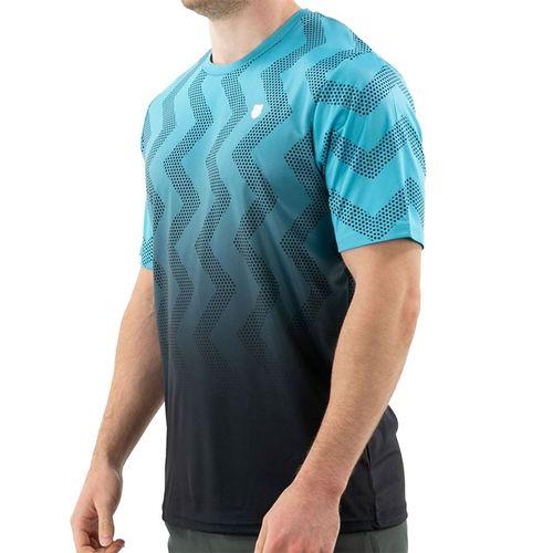 K Swiss Hypercourt Print Crew Shirt Mens Scuba Blue/Dark Shadow 104911 456