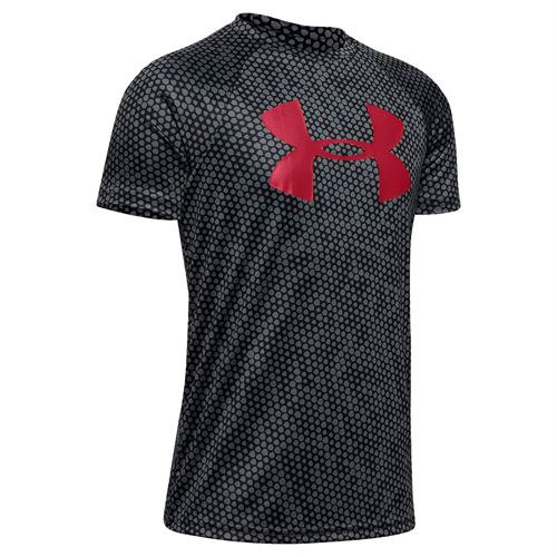 Under Armour Boys Tech Big Logo Printed Tee Shirt Red/Black 1351851 600