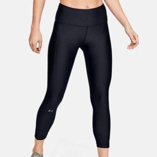 Under Armour Womens Heatgear High Rise Ankle Crop Pant - Black/Metallic Silver