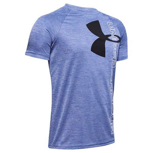 Under Armour Boys Tech Split Logo Hybrid Tee Shirt Royal/Black 1354001 400