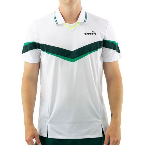 Diadora Short Sleeve Polo Mens Holly Green/White/Bistro Green 175667 C8760û