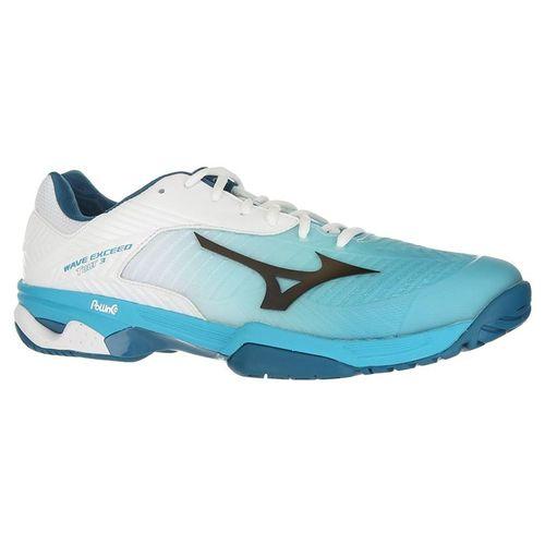 Mizuno Wave Exceed Tour 3 Mens Tennis Shoe - White/Aqua