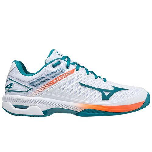 Mizuno Wave Exceed Tour 4 Mens Tennis Shoe White/Harbor Blue 550033 00HB