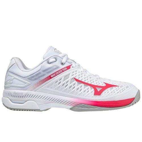 Mizuno Wave Exceed Tour 4 Womens Tennis Shoe White/Rose Red 550034 001P