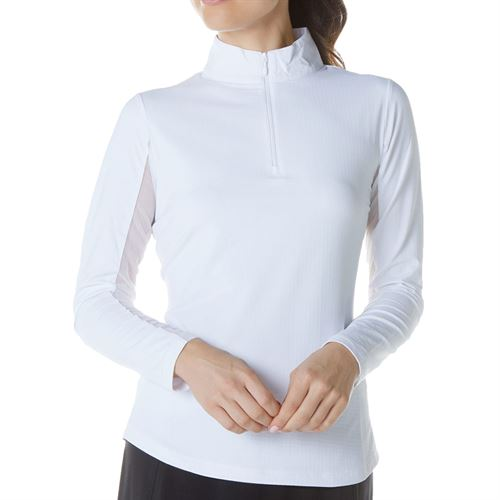 Ibkul Mock Neck 1/4 Zip Long Sleeve - White